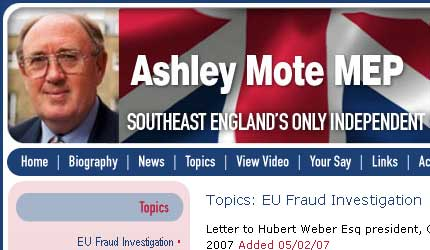 A genuine screengrab from Mote's website - the gall of the man!